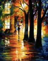 Night way by Leonid Afremov by Leonidafremov