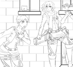 Attack on titan: Mikasa and eren lineart +video by MyKawaiiMomo-chan