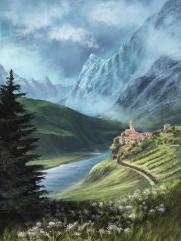 landscape from the world Howl's Moving Castle by NoinHvainHtain