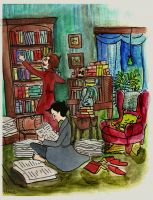 Holmes and Watson tidying by elina-elsu