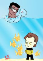Geordi and Data on the Beach by BewitchedCat