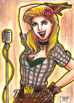DC Bombshells Black canary sketchcard by JASONS21