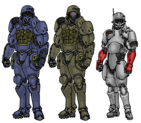 ONI Power armor lineup by Daemoria