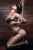 Blindfold, tied in lingerie to a bamboo tube - Fin by Model-Space