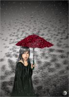 Sound of falling rain, Umbrella and Rose by kaminko