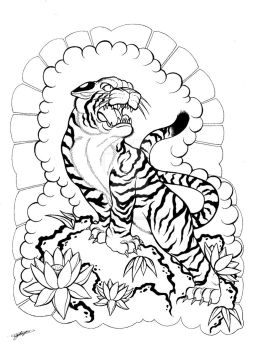 My Japanese Tiger and Floral Tattoo Design! :3 by ShannonxNaruto
