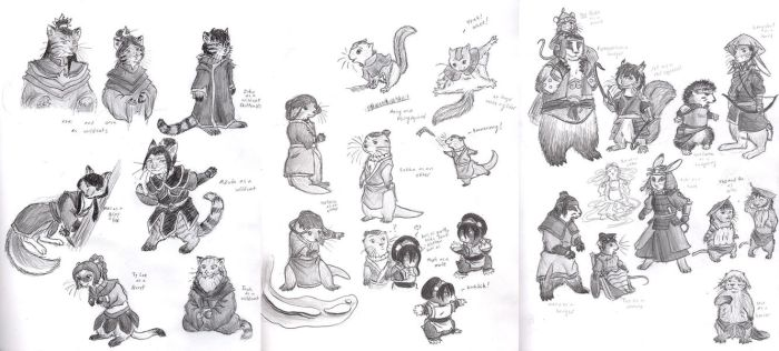 Avatar Redwall Sketches by Porcubird
