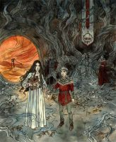 Annabel and Ash in the court of the Unseelie King by LiigaKlavina
