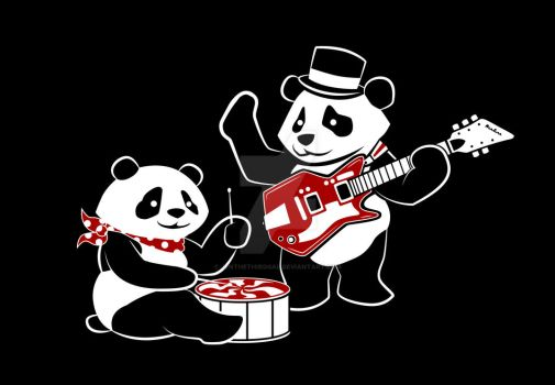 White Stripe Pandas by JenTheThirdGal