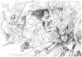 Dc women kicking pencils by Peter-v-Nguyen