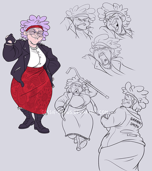 Character Design: Biker Granny by Cassie-Draws