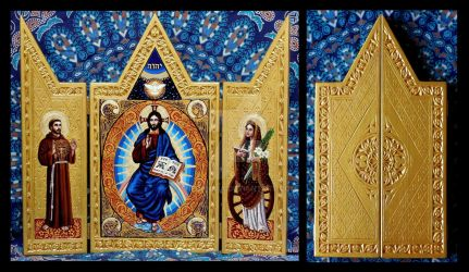 Christ Pantocrator with Saints Triptych by Theophilia