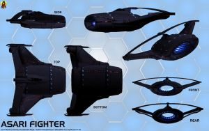 Asari Starfighter concept (Valhawk class) by Euderion