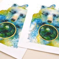 Watercolor bear, art print preview by jane-beata
