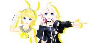 [MMD] IA and Rin by KuMarry