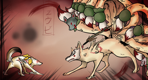 Okami: Battling Ninetails by Chico-2013