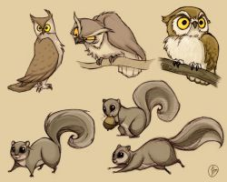 Owls and Squirrels by Luthie13