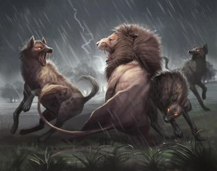 Lion vs Hyena Painting by TehChan