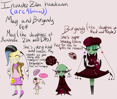 IZ headcanon (arc 4 ect) May and Burgandy ref by Glitched-Irken