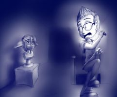 Markiplier Scared of Bust Statues by Crazybandit1