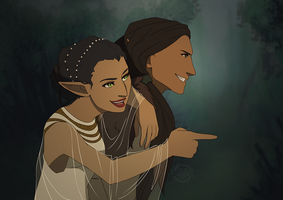 Commish - Bella Lavellan and Young!Solas by kamidoodles