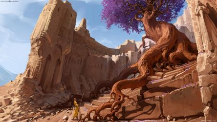 Ruins with ancient tree by Sviatoslav-SciFi