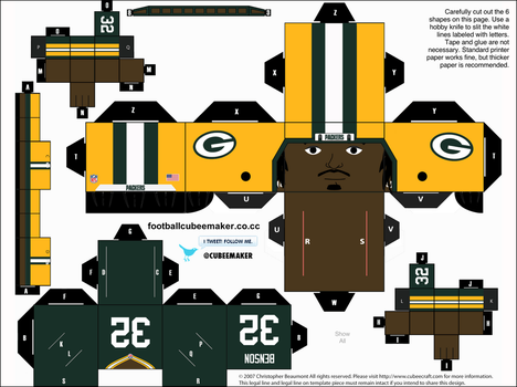 Cedric Benson Packers Cubee by etchings13