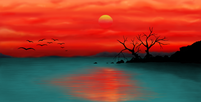 Sunset over a lake by miss-elli