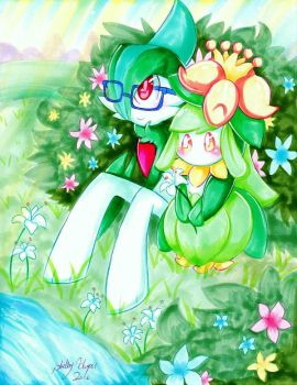 Gallade and Lilligant by Moon--Shield