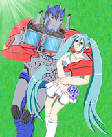 Miku and Optimus by ErinPrimette