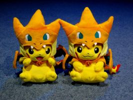 Pika-zards!  Pikachu Dressed as Mega Charizard Y by gold94chica