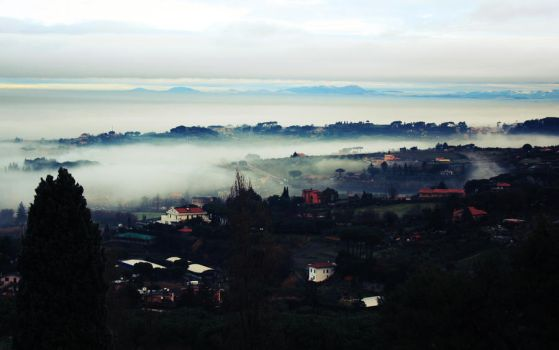 foggy assisi by catastrophical