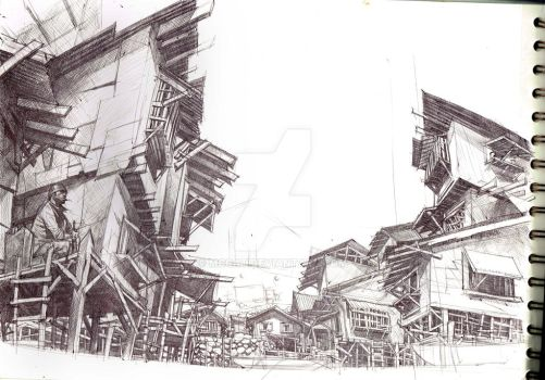 filipino fishing village WIP drawn usingn ballpen