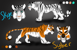 Skye and Syber ref sheet by Thealess