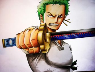 Zoro from One Piece - coloured pencil drawing by Polaara