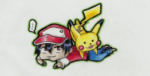 Red and Pikachu by Schitzo-Cupcake