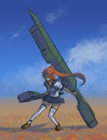 Girl with giant weapon by Rochnan