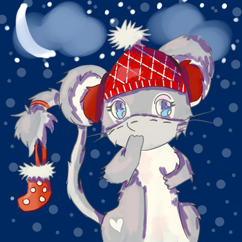 Winter mouse for Annatobes by AnimaloverXD