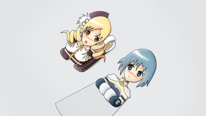 Mami Tomoe and Sayaka Miki Flattened Part 2 by DaAussie