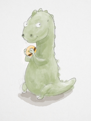 T-Rex Eating a Hamburger by WickedOffKiltah