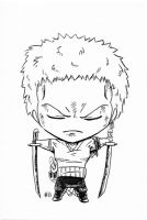 Chibi Zoro Commission Lines by AnimeGirlMika