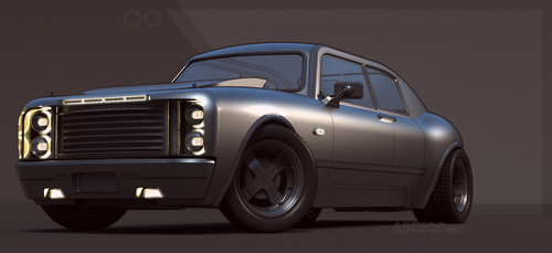 Sedan Muscle front view by aconnoll