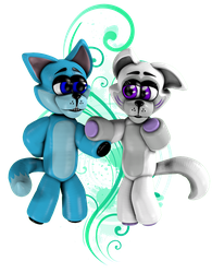 Snow The Derpy Wolf and Frostbite The Wolf Plushie by LerkaRabbit
