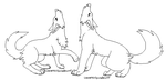 howling wolf couple lineart by ProtoSykeLegacy