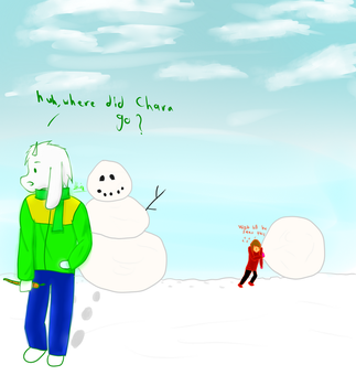 Snowman Contest! feat. Chara and Asriel by Hezault