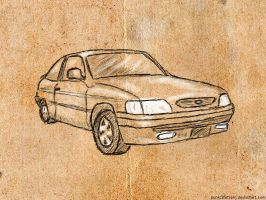 Ford Escort - Lineart by punksafetypin