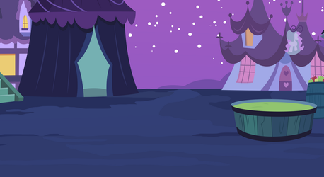 Background: Nightmare Night at Ponyville by csillaghullo