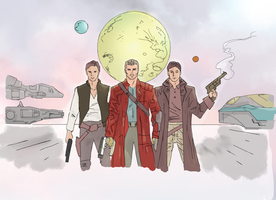 Space superheroes drawing (colored) by electronicdave