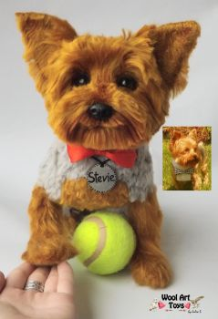 Stevie Needle felted Yorkshire Terrier sculpture by WoolArtToys