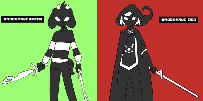 Undertale Green and Undertale Red by FillerShmazman